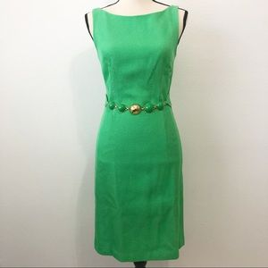 Milly of New York green sleeveless Belted dress